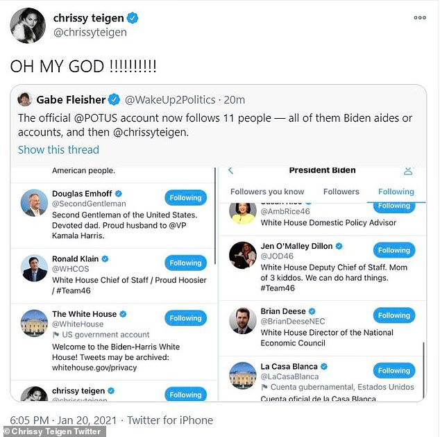 Chrissy Teigen reacts to being the ONLY celebrity Joe Biden's @POTUS Twitter account is following