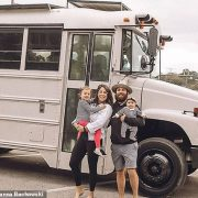 Couple sell their home and all their possessions to live and work in a souped-up school bus