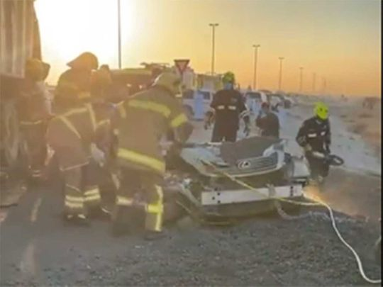 Emirati man dies after his car is crushed by a truck in Fujairah road accident