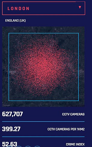 Fascinating infographics reveal London has 627,707 CCTV cameras, the most of any city outside China