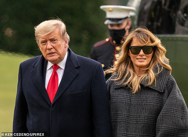 President Donald Trump (left), pictured returning to the White House Thursday with first lady Melania Trump (right), is unhappy the Justice Department stepped in on behalf of Vice President Mike Pence to crush a lawsuit aimed at giving Pence the power to overturn the election