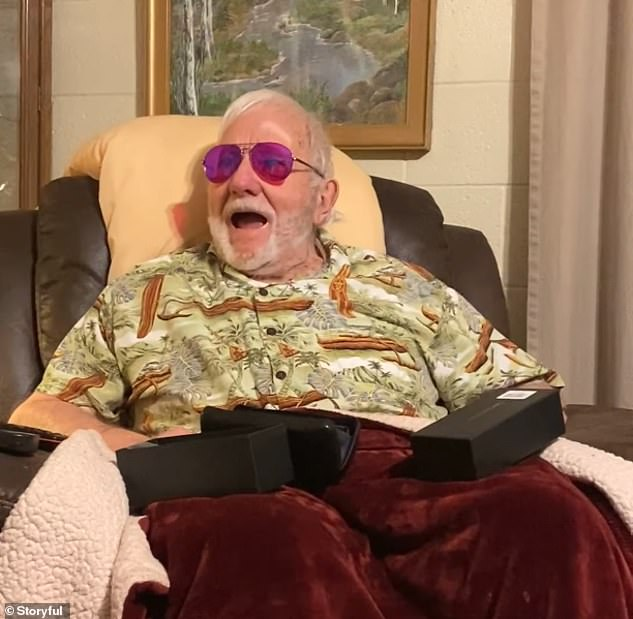 Heartwarming moment man, 80, sees color for the first time through color blind glasses