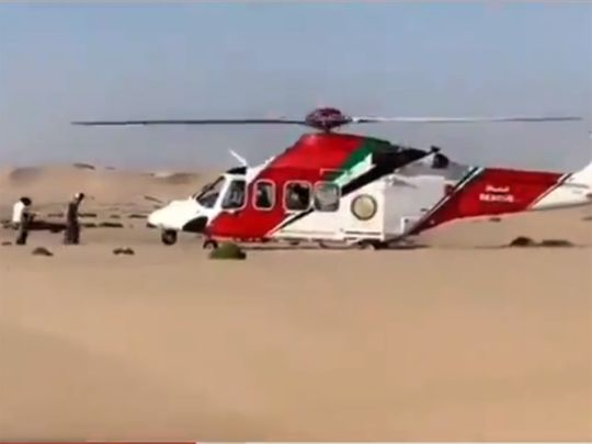 Injured man airlifted to hospital from UAE desert