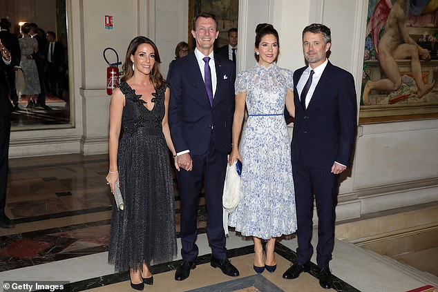 Tensions have grown between Crown Princess Mary (pictured second from right with husband Frederik) and Princess Marie (left with husband Joachim)