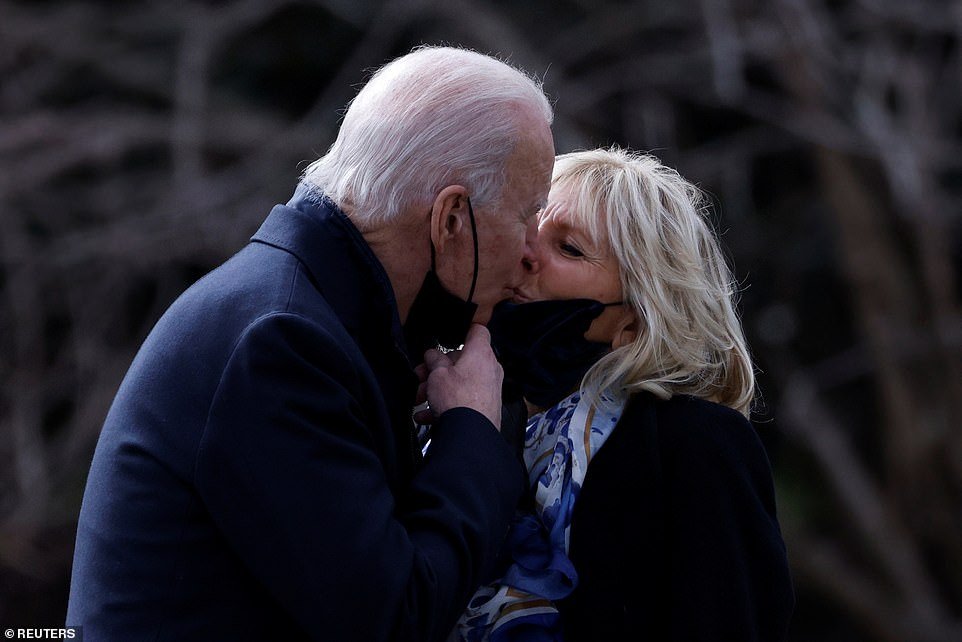 Jill Biden kisses Joe goodbye for his first trip on Marine One