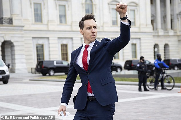 Josh Hawley is branded a traitor for his clinched-fist salute to the Trump mob