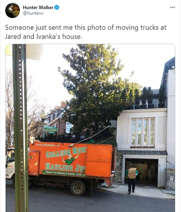 Moving truck from 'College Hunks Hauling Junk' is spotted outside of Ivanka and Jared's DC home