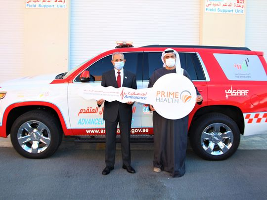 Prime Hospital gifts first responder ambulance to Dubai Corporation of Ambulance Services