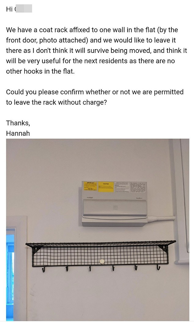 Property manager insists tenant will be charged for leaving coat rack for next residents