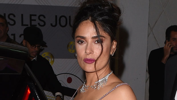 Salma Hayek Shakes Her Drenched Hair After Getting Soaking Wet In Low-Cut Swimsuit — Watch