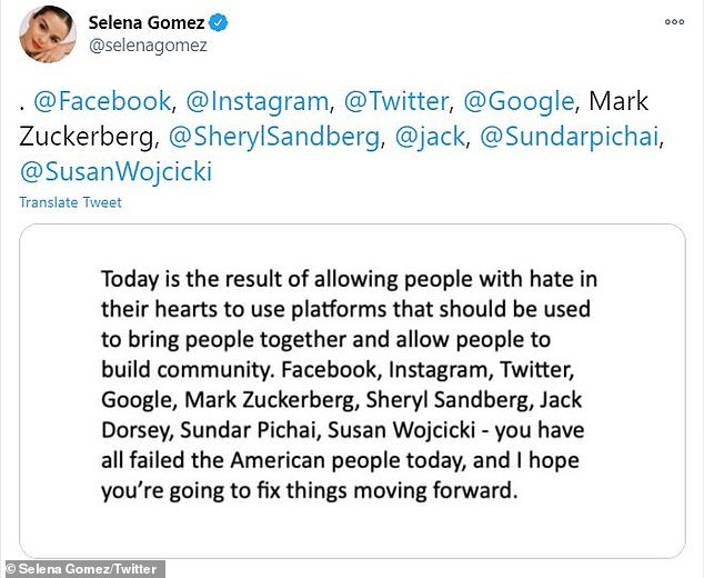 Selena Gomez RIPS tech leaders after Trump supporters violently storm the U.S. Capitol