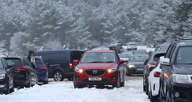 Around 150 people parked their cars at an access road to Cairngorm Mountain on Saturday - despite the snow resort being closed to the public since Christmas Eve