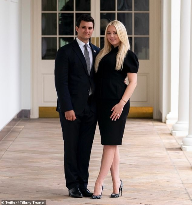 News: Tiffany Trump, 27, used her father's last day as President to announce her engagement to billionaire Michael Boulos, 23, while sharing an image of them posing outside the West Wing