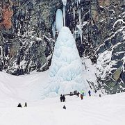 Tourist is killed and four more are trapped under huge icicles at a Russian beauty spot