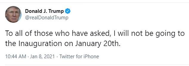 Trump unleashes a new tweet storm saying he will snub Joe Biden 's inauguration