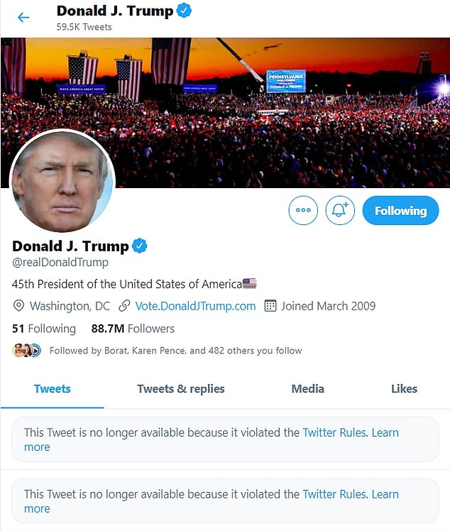 Twitter shares fell after the site temporarily banned President Donald Trump for his dangerous rhetoric when a mob of MAGA fans stormed the US Capitol at his behest. The 89 million followers on Trump's main Twitter account, @realDonaldTrump, represent nearly 48 percent of the company's total base of monetizable daily active users