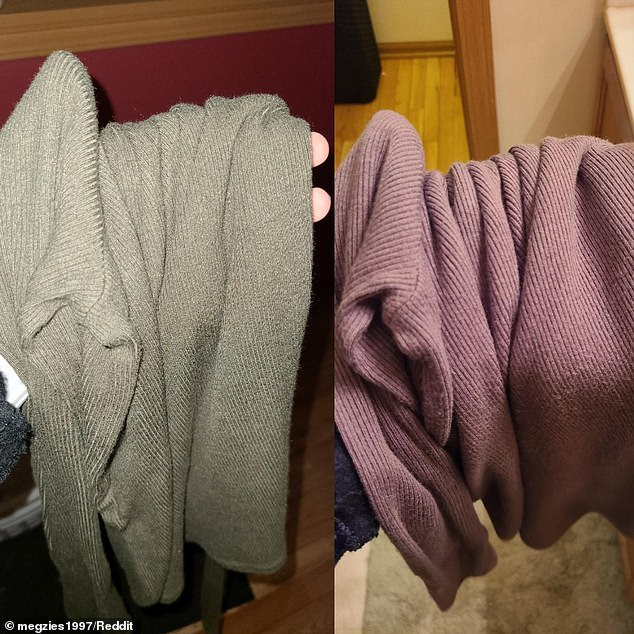 Woman shows how a sweater changes color from gray to purple in different lighting