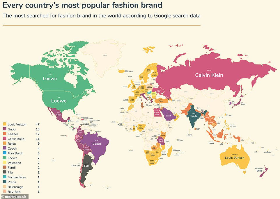 World map reveals the world's favourite fashion brands – and Louis Vuitton is top