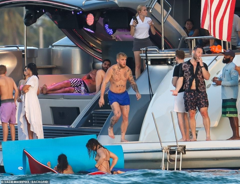 YouTube star Jake Paul parties maskless on a yacht in Miami Beach amid the ongoing Covid-19 pandemic