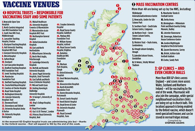 A map shows the various venues across the country where vaccinations are taking place
