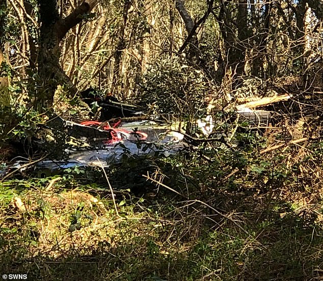 Wreckage was seen near the site of the crashed Hawk jet in Helston this afternoon