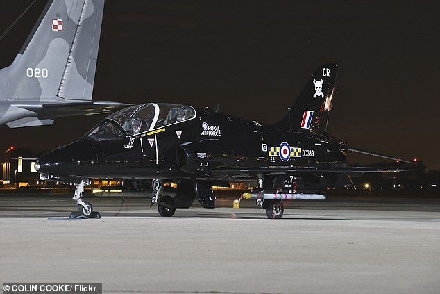 The pilots were taken to hospital after ejecting from the Royal Navy Hawk aircraft. Pictured, A stock image of a BAE Hawk T1