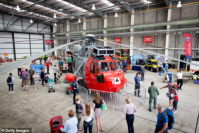 An open day at RNAS Culdrose near Helston in Cornwall. The jet had taken off from the base before coming down