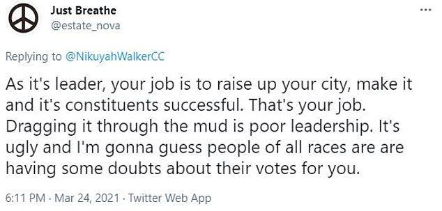 Another Twitter user wrote: 'As its leader, your job is to raise up your city, make it and it's constituents successful. That's your job. Dragging it through the mud is poor leadership. It's ugly and I'm gonna guess people of all races are having some doubts about their votes for you.'
