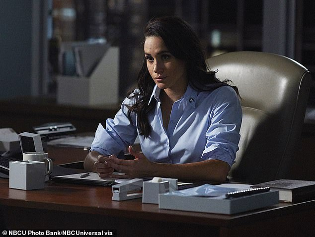 Collins has been Markle's agent since her years as an actress on Suits and helped her plan 'Megxit'.He stuck with her even after she vowed to quit show business when she got engaged to Prince Harry in 2017. Meghan is pictured on Suits