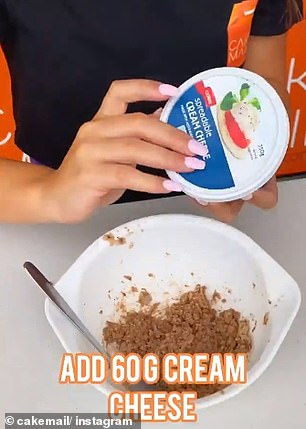Next she combined the crushed Bueno with 60 grams of cream cheese