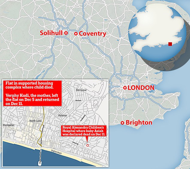 Pictured bottom left is Brighton - where Kudi lived - and Solihull, Coventry and London, where she partied after leaving her baby between December 5 and 11, 2019