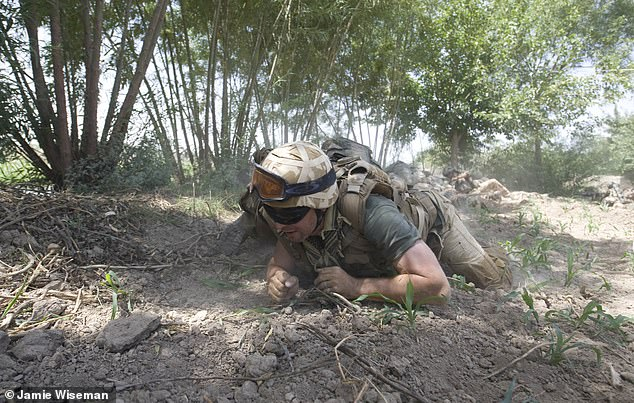 Daily Mail writer Richard Pendlebury, embedded with 6 Platoon, B company, 2 Mercians, scrambles for cover in the first 'Contact' with Taliban fighters of the day