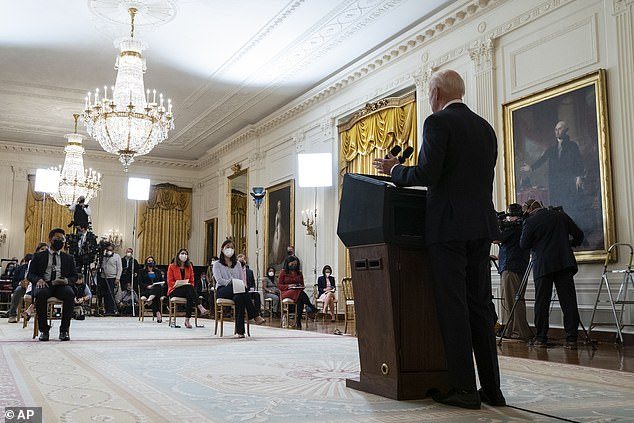Biden is slammed for taking ZERO questions on COVID, tax hikes or Russia at first press conference