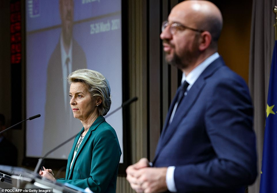 European Council President Charles Michel (R) and European Commission President Ursula von der Leyen deliver a joint press conference at the end of the first day of a European Union summit over video conference at The European Council Building in Brussels. Despite alarm at the legal implications of the export ban from some countries, including Belgium the Netherlands, Ireland, Sweden and Denmark, it was clear that the bloc won't take the threat of blockades off the table.