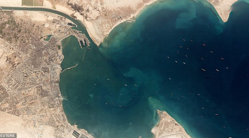 Suez Canal: Satellite image reveals extent of traffic jam behind stuck ship