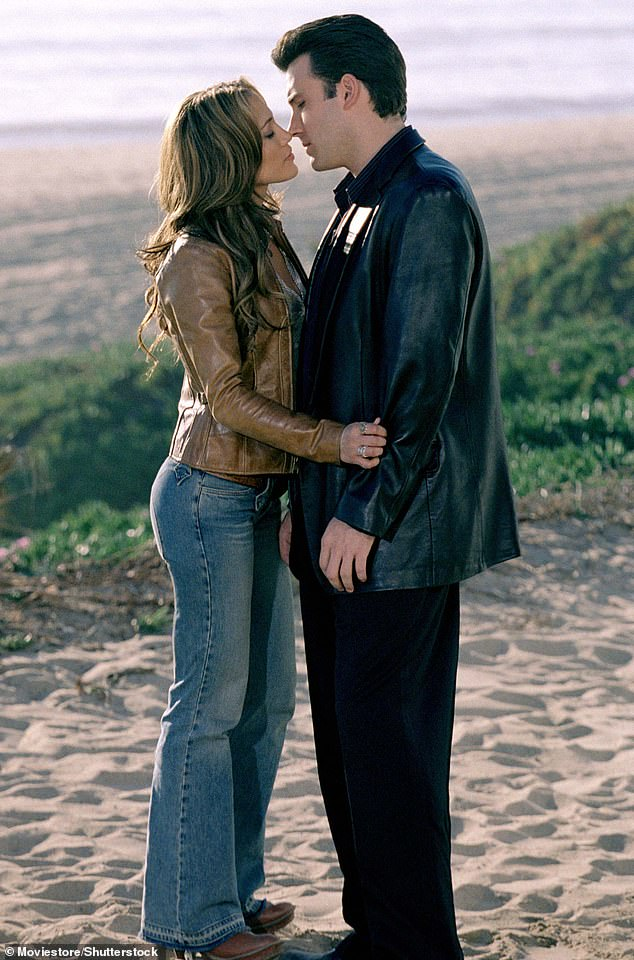 The early days: On set of Gigli in 2002.The source added: 'She wants to spend as much time with Ben as possible to see where this could go. They are certainly not making any plans about the future'