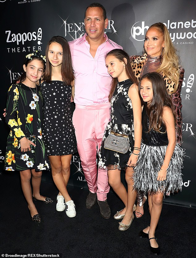 The way she was: With ex fiance Alex Rodriguez and his kids Natasha and Elle as well as her twins at Jennifer Lopez: All I Have final performance celebration in Las Vegas in 2018