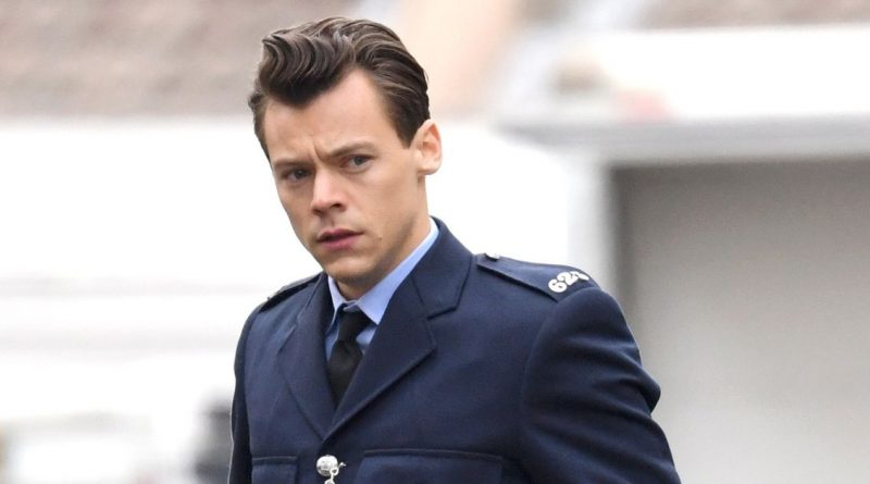 Harry Styles looks dashing in police officer uniform as he films new movie role
