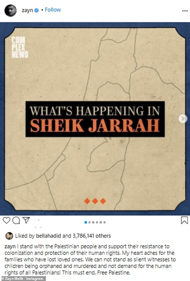 Sheikh Jarrah: Gigi Hadid's baby daddy Zayn Malik also spoke out on the conflict has he shared a graphic about the situation in Sheik Jarrah