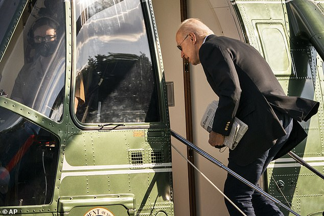 Biden's statement - which also paid tribute to police officers - said high profile deaths of suspects had further worsened anti-police sentiment. He's seen here boarding Marine One on the way to Delaware