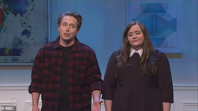 The first scenario saw Beck Bennett and Aidy Bryant examining the instance of a man walking into a bar. Does he need to wear a mask?