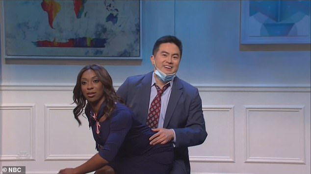 In the following scene entitled, 'The Friendly Skies,' a horny Bowen Yang played an airline passenger while Ego Nwodim was his flight attendant
