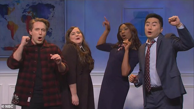 The final section of the show's cold open saw cast members dancing, discussing how 'everybody got the vaccine so we never need masks again'