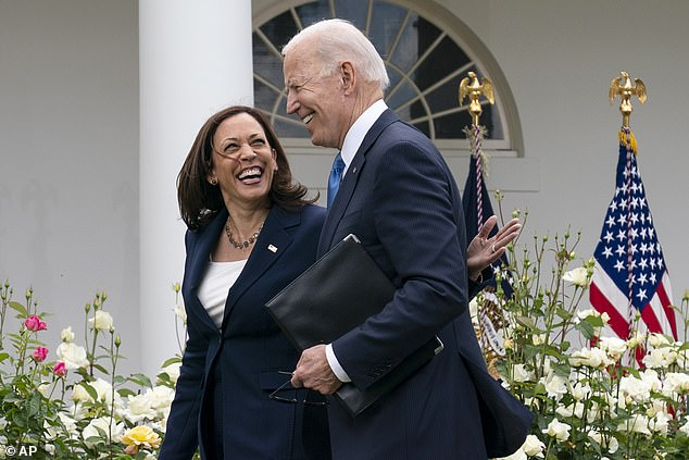 Biden and Harris appeared outdoors without masks in the White House rose garden on Thursday, soon after the CDC issued its new advice that fully vaccinated people did not need to cover up in most situations