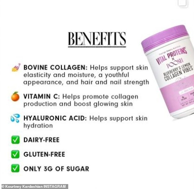 Check list:The Vital Proteins x POOSH mix has several ingredients. The first listed is bovine collagen which 'helps support skin elasticity and moisture' and give a 'youthful appearance' as well as support for hair and nail strength. Also in the mix is Vitamin C which helps promote collagen production and 'boost glowing skin.' Hyaluronic Acid 'helps support skin hydration'
