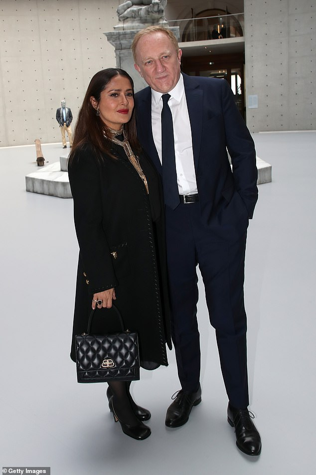 In Paris with her love: Hayek and CEO of Kering Group, François Henri Pinault attend the Bourse de Commerce - Pinault Collection, Modern Art Foundation on Wednesday
