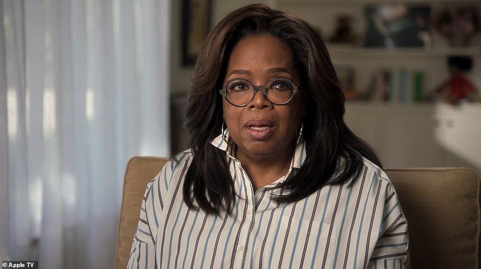 Oprah Winfreys also cries as she speaks to Harry in a film the pair both helped produce