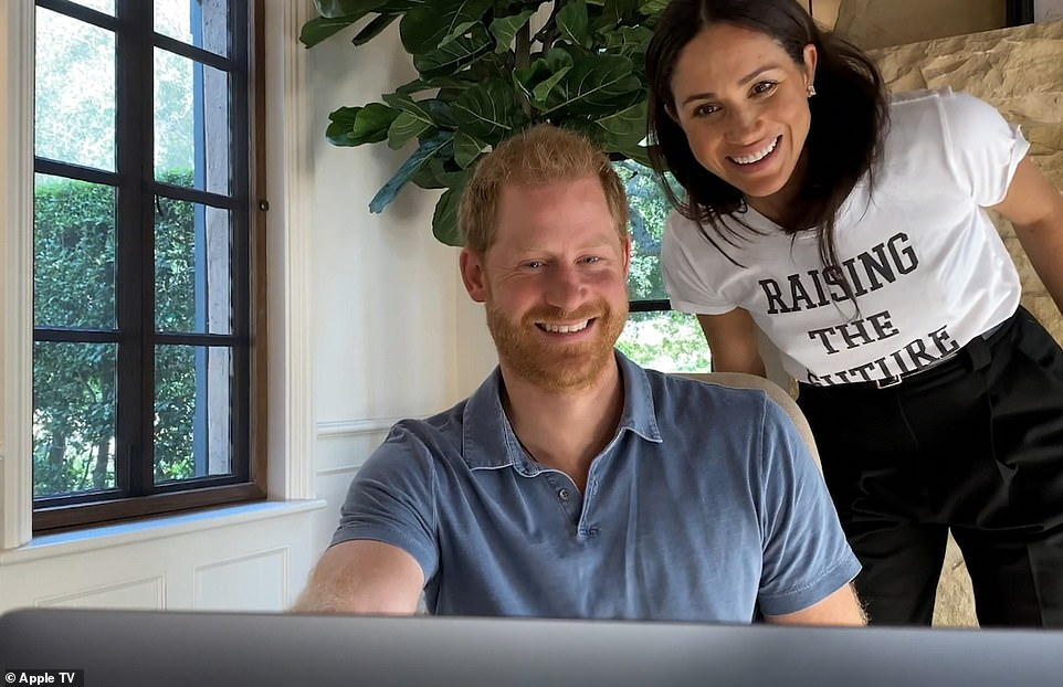 Harry appears with Meghan in the trailer for the film, which is said to have been two years in the making and will be broadcast on Apple TV on Friday. The Duchess doesn't appear to be heavily pregnant, suggesting it was filmed late last summer. The couple's daughter is due next month