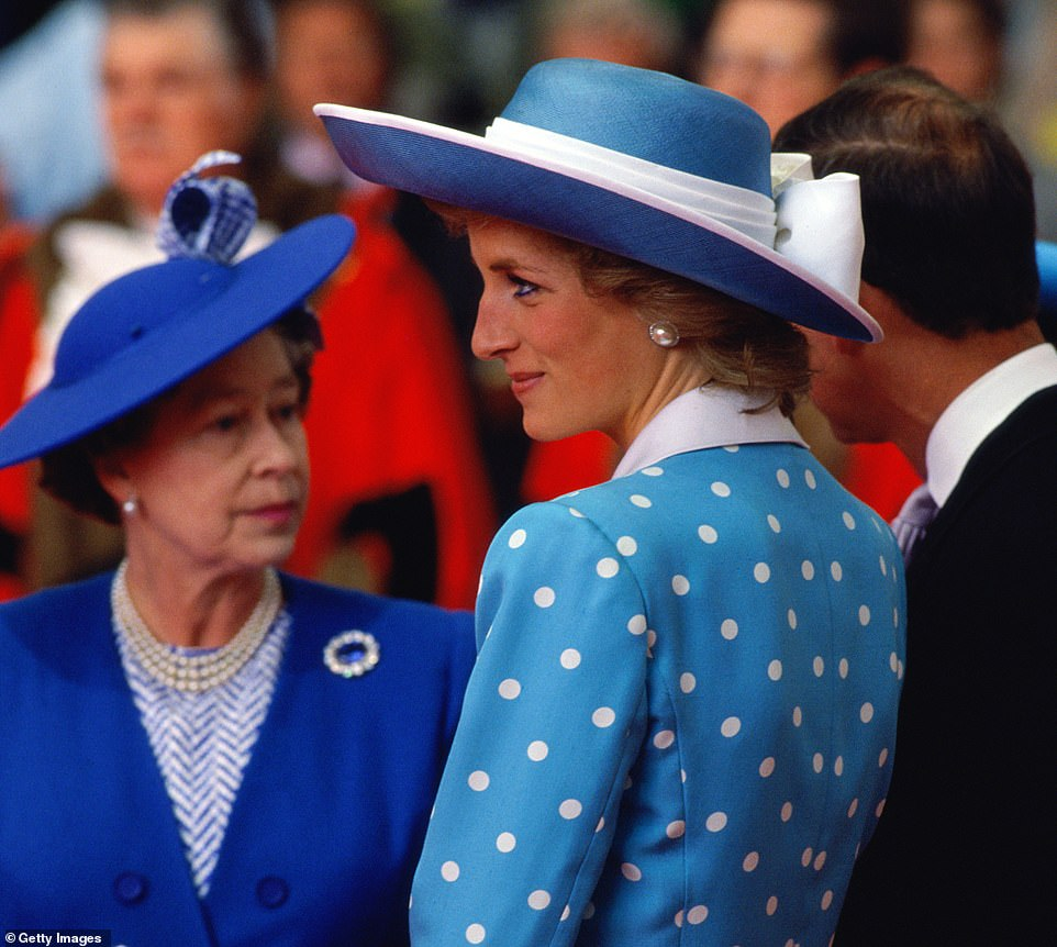 The Queen and Princess Diana, Harry's mother, are pictured together in 1989