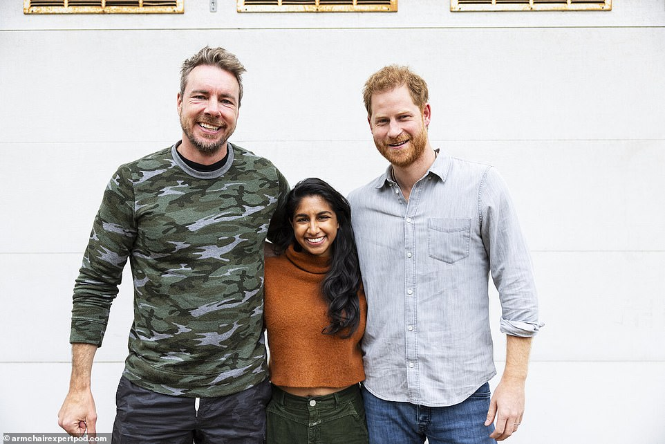 (From left) Dax Shepard, his co-host Monica Padman and Prince Harry pose in a photograph for the Armchair Experts podcast